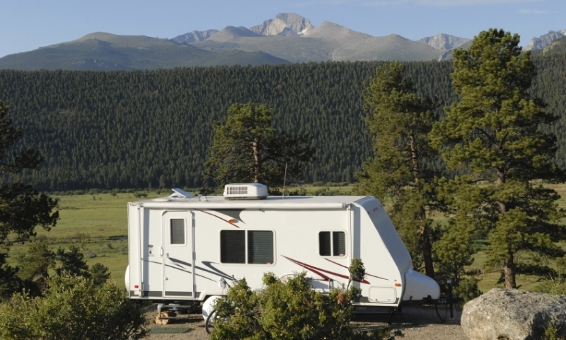 Campground in front of Longs Peak in Rocky Mountain National Par