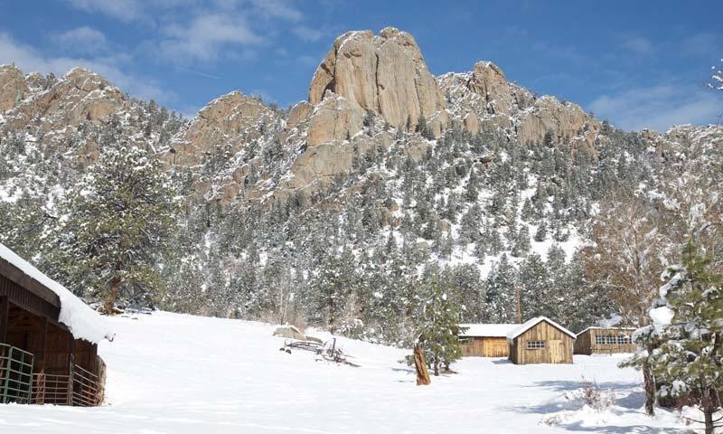 Twin Owls behind MacGregor Ranch in Winter