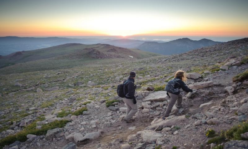 Hiking up Longs Peak
